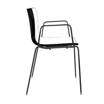 Arper - Catifa 46 0251 Armlehnstuhl zweifarbig schwarz - weiß/schwarz/Außenschale glänzend/innen matt/Gestell schwarz matt V39