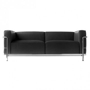 Cassina - Le Corbusier LC3 Sofa Cassina - grafite schwarz/Leder LCX 13X414/Gestell verchromt