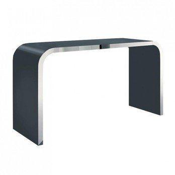 müller möbelfabrikation - Highline M10-3 Stehtisch - basaltgrau RAL 7012/seidenmatt/Tischkante edelstahl poliert/240x60x95cm