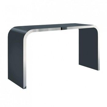 müller möbelfabrikation - Highline M10-3 Sideboard - basaltgrau RAL 7012/glänzend/Tischkante edelstahl poliert/240x60x95cm
