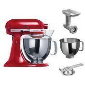 KitchenAid - Artisan Profi Set - red/lacquered/accessories kit incl.: 5K5THSBP+KCCA+5FGA