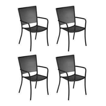 emu - Athena Gartenarmlehnstuhl 4er Set - schwarz/pulverbeschichtet/BxHxT 59x90x63cm/4 Stück