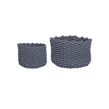 - Bloomingville Textile Korb 2er-Set - grau/H10cm x Ø25cm/H15cm x Ø35cm