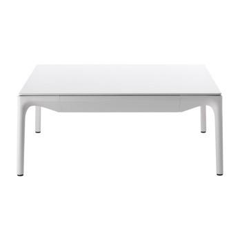 MDF Italia - Yale Low Couchtisch - weiß X039/Harz/Gestell aluminium weiß X057 matt lackiert/LxBxH 75x75x30cm