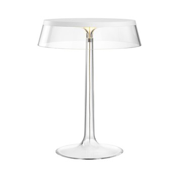 Flos - Bon Jour LED Tischleuchte weiß - transparent/Schirm: Kunststoff/H 41cm/ Ø 31,6cm/Gestell transparent/weiß
