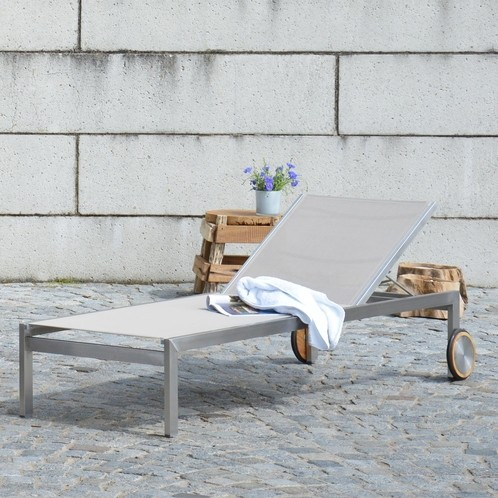 Jan Kurtz - Luxury Sonnenliege - taupe/Bezug Batyline/LxBxH 207x73x34cm/Gestell Edelstahl