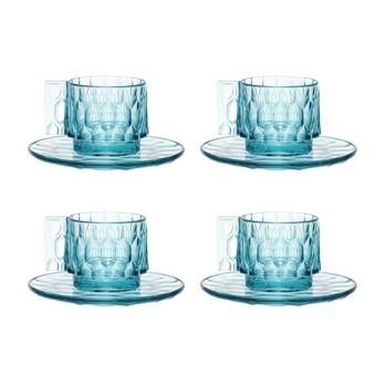 Kartell - Jellies Family Tasse mit Untertasse Set 4tlg. - blau/transparent/4x Tasse H: 5,5cm/4x Unterteller H 1cm / Ø 12cm