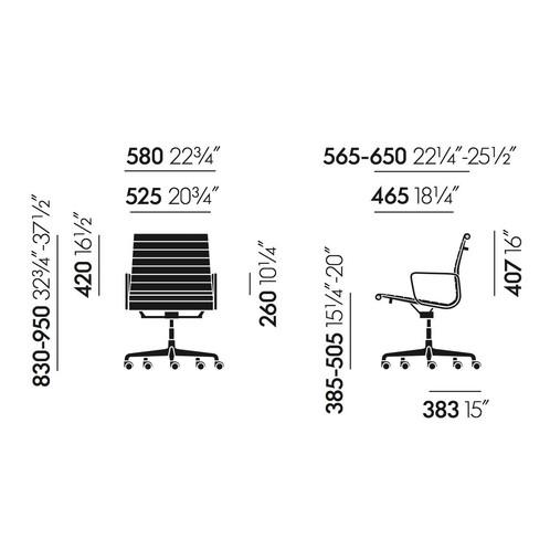 Vitra - EA 117 Alu Chair Bürostuhl/ Gestell poliert - Strichzeichnung