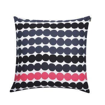Marimekko - Räsymatto Kissenbezug 50x50cm  - schwarz/weiß/pink/50x50cm