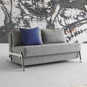 Innovation - Cubed 140 Schlafsofa - grau/Gestell chrom/Bezug Dess. 565 Granit Twist