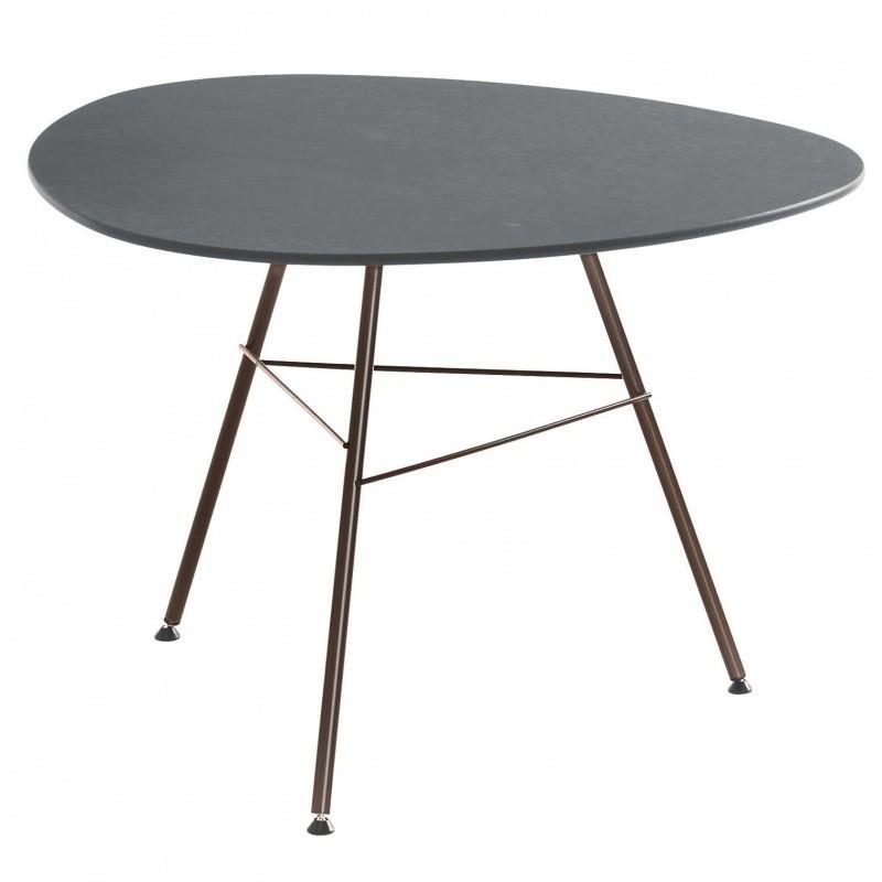 Arper Leaf Coffee Table Triangular H50 Grey Frame Mocha