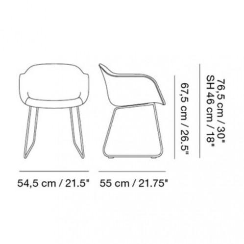 Muuto - Fiber Chair Armlehnstuhl mit Kufengestell - Strichzeichnung