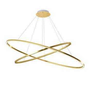 - Ellisse Double LED Pendelleuchte - gold/BxT 135x70cm/5400+3900lm/2700K