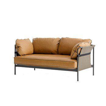 HAY - Can 2-Sitzer Sofa - cognac/Leder Silk 250/172.4x82x89.5cm/Gestell charcoal/Rück-/Seitenteil Canvas grau
