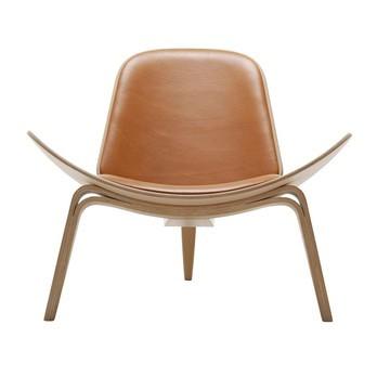 Carl Hansen - Carl Hansen CH07 Shell Chair Lounge Sessel - cognac/Leder Thor 307/Gestell Eiche geölt