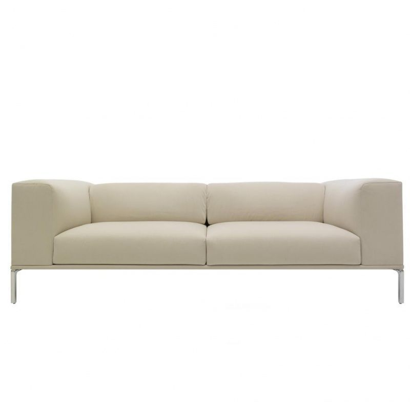Cassina - Moov Sofa small - leather 13X269 creme/frame polished/220x71x85cm