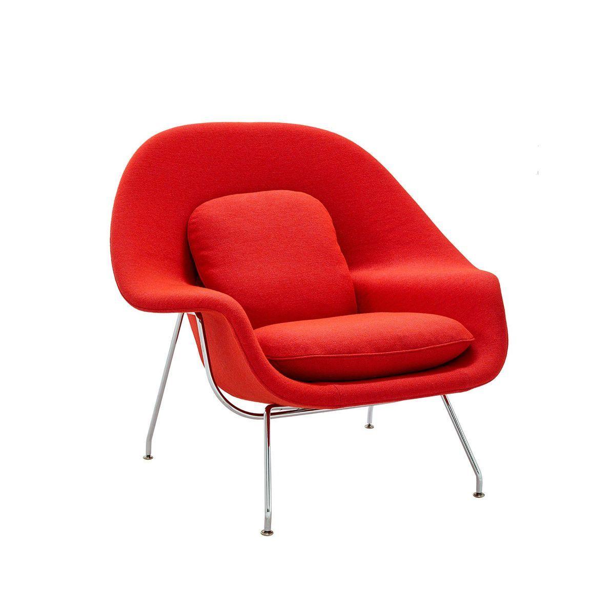Knoll womb chair - Knoll International Womb Chair Relax Frame Chrome Fuchsia Red Fabric Hallingdal Fuchsia Red