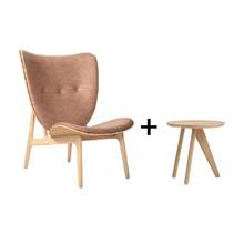 NORR 11 - Aktionsset Elephant Lounge Sessel Leder + Fin Beistelltisch