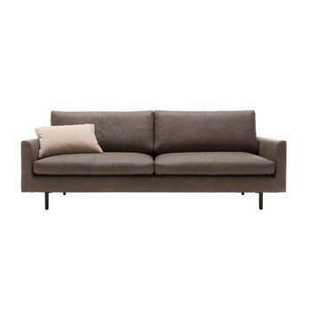 freistil Rolf Benz - freistil 134 Sofa 2-Sitzer - braungrau/Bezug Leder 9225/BxHxT 240x88x100cm/Gestell Stahfuß schwarz konifiziert