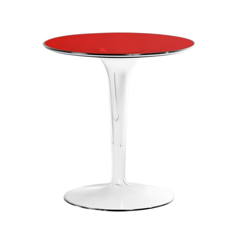 Kartell   Tip Top Side Table   Red/transparent