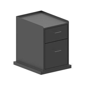 Zeus - Zeus Cassettiera Rollcontainer - schwarz seidenmatt/2 Schubladen/versteckte Rollen/48x62x56cm