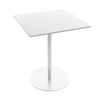 la palma - Brio Fix 72 Bistro-/Kaffeetisch Gestell weiß eckig - weiß/Gestell weiß/HPL Fenix weiß/60x60cm/Fuß Ø46cm/für Innen- und Außenbereich geeignet