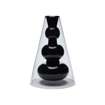 Tom Dixon - Bump Vase kegel - grau/schwarz/15x15x22cm