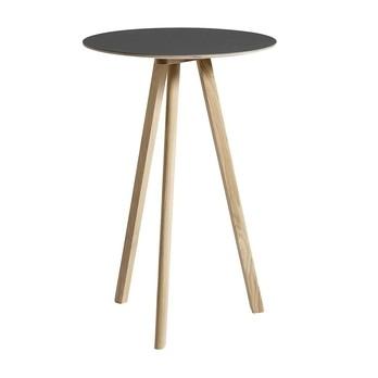 HAY - Copenhague CPH20 Stehtisch Ø70cm - schwarz/Linoleum Tischplatte/Gestell Eiche matt lackiert/H 105cm