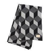 ferm LIVING - Squares Tagesdecke - grau-schwarz gemustert/150x120cm/waschbar bei 30°C/Jacquard-Strick mit Leder Logo-Label