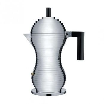 Alessi - Pulcina Espressomaschine 6 Tassen - aluminium/schwarz/H26cm/Ø12.2cm/30cl