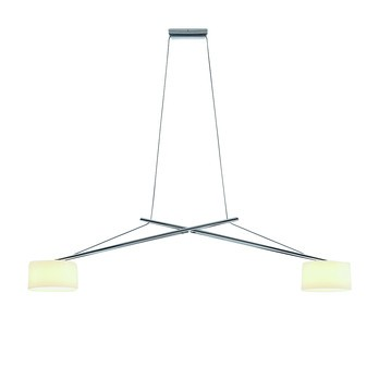 Serien - Twin Suspension Lamp - opal white/aluminium chrome/glossy