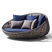 B&B Italia - Canasta 13 Lounge Sessel mit Rollen - tortora/Sitzkissen blau/Stoff Eria 850/3 Rückenkissen 48x48 Eletto 280 taupe/3 Rückenkissen 65x65 Eria 850 blau