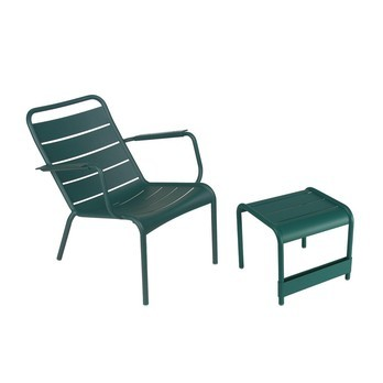 Fermob - Luxembourg 2 Armchairs + 1 Coffee Table - ceder green/lacquered/table 86x43cm + 2 chairs