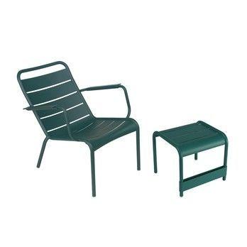 Fermob - Luxembourg 2 Sessel + 1 Beistelltisch - zederngrün/lackiert/Tisch 86x43cm + 2 Stühle