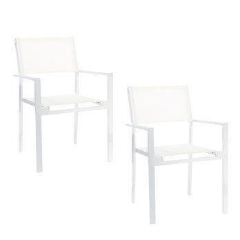 Jan Kurtz - Cubic Garten Armlehnstuhl 2er Set - weiß/BxHxT 57x85x45cm/Gestell Edelstahl pulverbeschichtet weiß