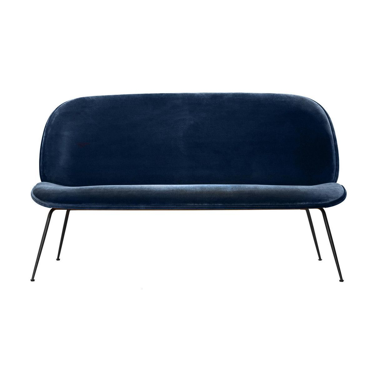 Gubi - Beetle Sofa Velvet Black Base - Dark Blue/Velvet Velluto G075/420