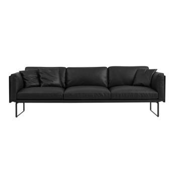 Cassina - 8 Piero Lissoni 3-Sitzer Sofa 251x88cm - schwarz/Gestell matt schwarz/Leder Scozia 13X606/inkl. 3 kleine Kissen