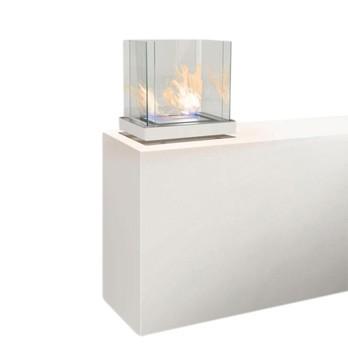 Radius - Top Flame Feuerstelle - weiß/poliert/50,2x37,2x49,5 cm/1.7l Brennkammer