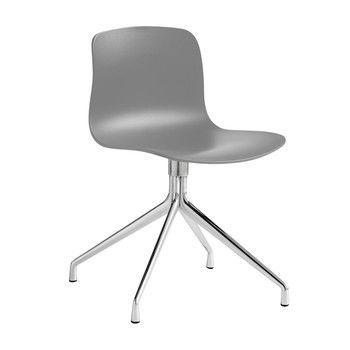 - About a Chair 10 Drehstuhl mit Sternfuß - grau/Gestell aluminium/mit Kunststoffgleitern