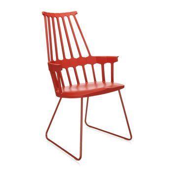 Kartell - Comback Chair Kufe - orangerot/Kufe orangerot