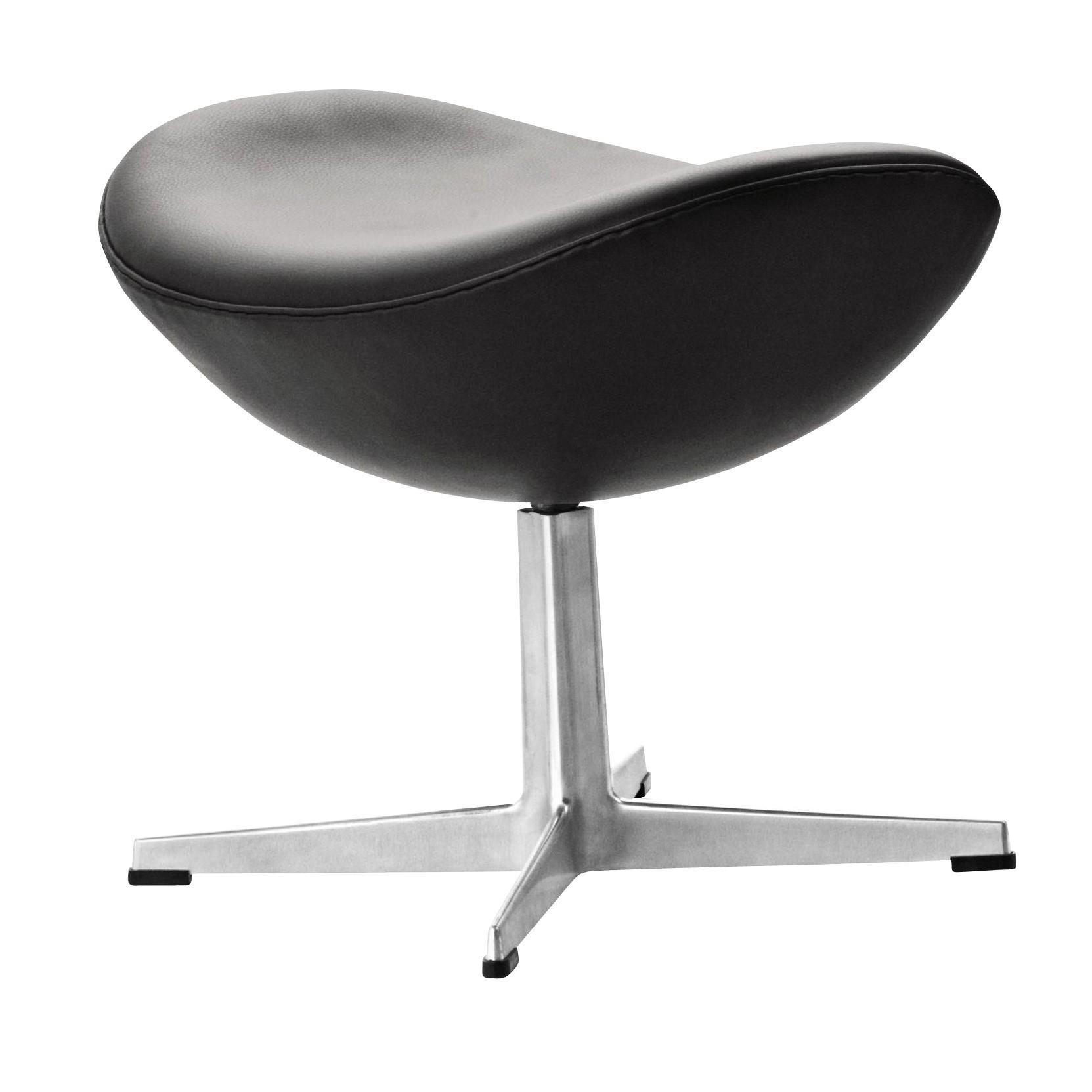 ... Fritz Hansen   Egg Chair Footstool Leather   Black/classic  Leather/frame Aluminium ...