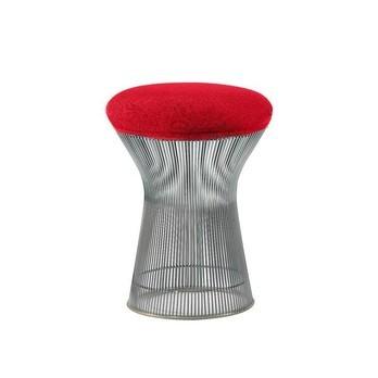Knoll International - Platner Hocker - nickel poliert/Kissen rot/inkl. Sitz-/Nackenkissen Stoff Cato 19