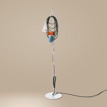 Foscarini - Filo Teodora Stehleuchte - türkis/orange/mundgeblasenes Glas/Gestell lackiertes Metall weiß/Textilkabel dunkelgrün/H 152cm/Ø 30cm