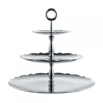 Alessi - Dressed Etagère mit 3 Ebenen - edelstahl/glänzend/H 31cm, Ø 35cm/mit Reliefdekor