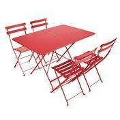 Fermob - Bistro Garden Set 4 Chairs - poppy/table 117x77cm