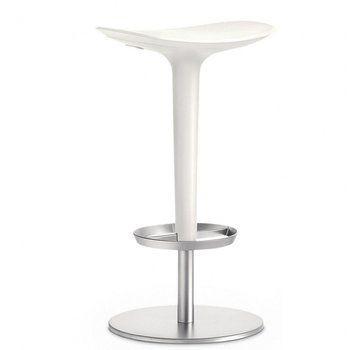Arper - Babar Hocker - weiß/Gestell satiniert/Höhenverstellbar 63.5 - 76.5cm