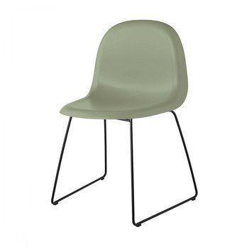 Gubi - Gubi 3D Dining Chair  Stuhl Kufengestell Schwarz - Mistelgrün/Sitzfläche HiRek Kunststoff/BxHxT 52x82x53,5cm/Gestell schwarz