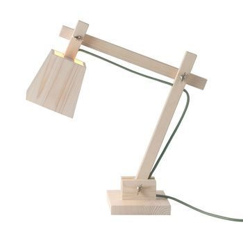 Muuto - Wood Lamp Tischleuchte - kiefernholz/grünes Kabel dusty green/H: 50cm