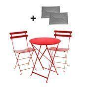 Fermob - Bistro Metall Garten-Set - mohnrot/Tisch Ø60cm/inkl. 2 Sitzkissen grau