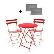 Fermob - Bistro Metall Garden Set - poppy/table Ø60cm/incl. 2 seat cushions gray